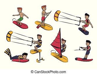 Wassersport-Karikaturen.