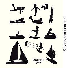 Wassersportsilhouette.
