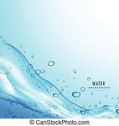 Wasserspritzflüssigkeit auf blauem Hintergrund.