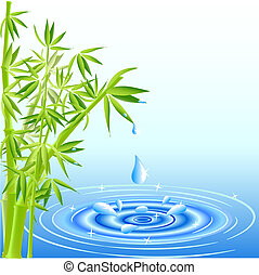Wassertropfen fallen aus den Bambusblättern