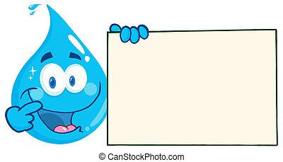Wassertropfen halten ein Banner