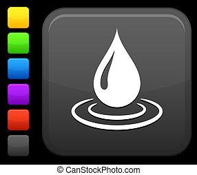 Wassertropfen Icon auf Quadrat Internet-Taste