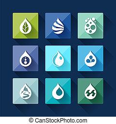 Wassertropfen-Ikonen in flachem Design-Stil.