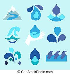 Wassertropfen-Ikonen und Designelemente.