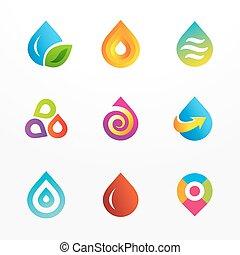 Wassertropfen-Logo-Iconset gesetzt