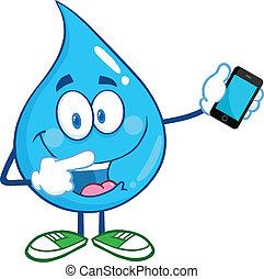 Wassertropfen mit einem Handy
