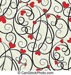 Wave florales Herz nahtlos im Hintergrund