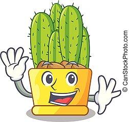Waving cereus cactus bouquet auf Zeichentrickfilm.