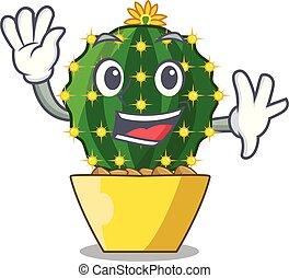 Waving character mammillaria cactus at cactus farm.