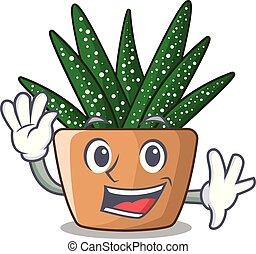 Waving Charakter kleine Zebra Kaktus Pflanze auf Pot.