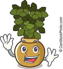 Waving jade plant pot in Cartoon Yard.