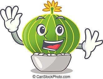 Waving plant notocactus magnifica auf Charakter Pot.