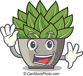 Waving view of green echeveria cactus cartoon.