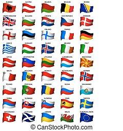 Wavy european Flaggen aufgestellt