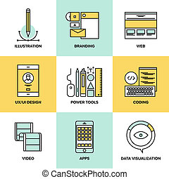Web Design und Entwicklung flache Linien Icons