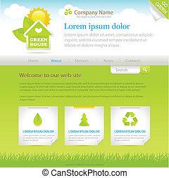 web, house., standort, grün, schablone, design