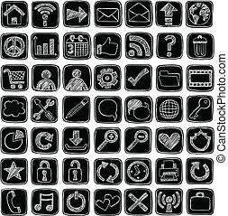 Web-Icons-Schilder, zwielichtiges Doodle-Set