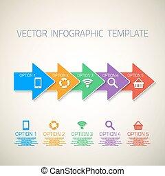 Web-infographische Pfeile Vorlagen Layout mit Vektor-Icons, könnte.