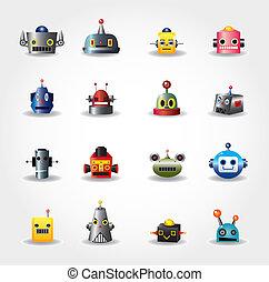 web, satz, -vector, roboter, gesicht, karikatur, ikone