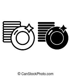 web, stil, icon., 10., grobdarstellung, gerät, freigestellt, abbildung, stapel, app., white., vektor, entworfen, sauber, platten, linie, eps, design, glyph