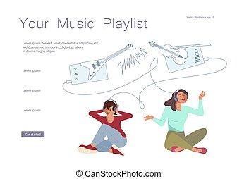 webpage, musik, katalog