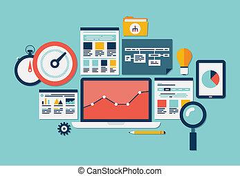 Website SEO und analytische Ikonen