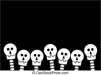 Weiß tanzende Skelette auf Schwarz.