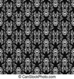 Weiße abstrakte Objekte auf einer schwarzen Hintergrund-Vektorgrafik.