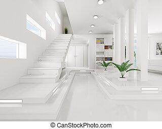 Weiße Eingangshalle, Innenraum 3D.
