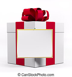 Weiße Geschenkdose mit rotem Band 3d