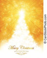 Weiße goldene Weihnachtskarte mit Baum und Licht.