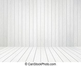 Weiße Holzmauer und Holzboden