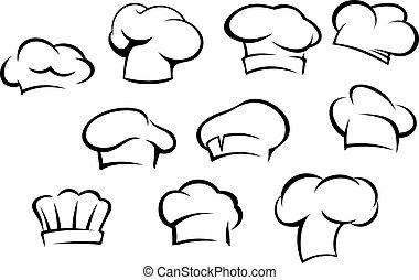 Weiße Küchenhüte und Kappen