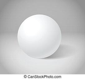 Weiße Kugel an grauer Szene