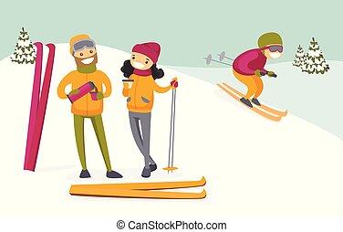 Weiße Paare trinken Kaffee im Skigebiet.