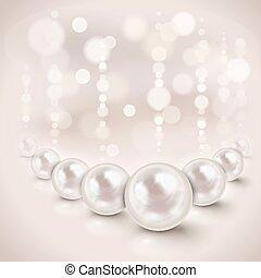 Weiße Perlen.