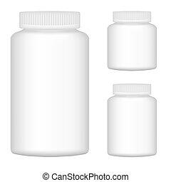 Weiße Plastikflasche für Verpackungsdesign. Set 2. Vektor Illustration