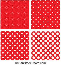 Weiße Polka-Punkte auf Rot.