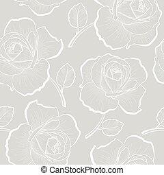 Weiße Rosen auf grauem, nahtlosem Muster.