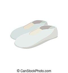Weiße Schuhe Zeichentrickfiguren.