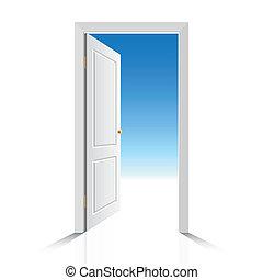 Weiße Tür geöffnet