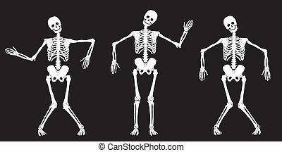 Weiße tanzende Skelette auf schwarz.