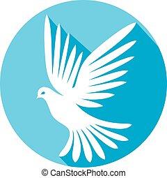 Weiße Taube flache Ikone.