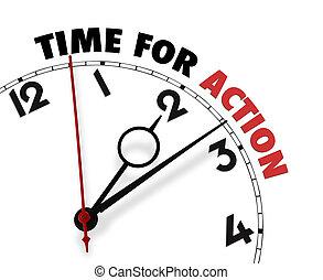 Weiße Uhr mit Worten: Zeit für Taten im Gesicht
