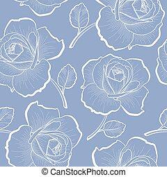 Weiße Umrissrosen auf blauem nahtlosen Muster.