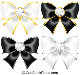Weiße und schwarze Bogen mit Diamanten und Goldschmiedeei