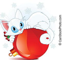 Weiße Weihnachtskatze