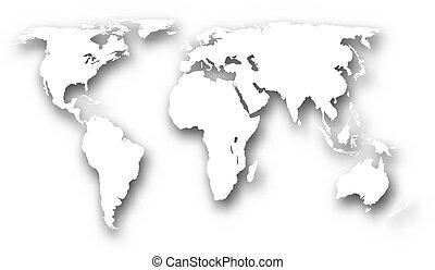 Weiße Weltkarte