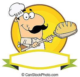 Weißer Bäcker mit Brot.