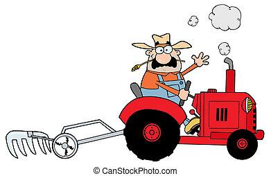 Weißer Bauer fährt einen Traktor